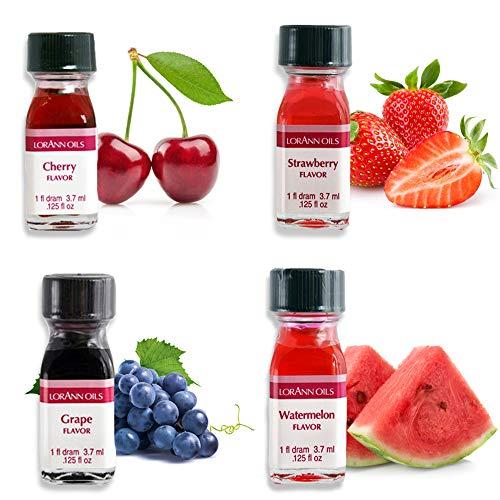 LorAnn Super Strength Fruity Flavors in 1 dram bottles (.0125 fl oz - 3.7ml), Watermelon, Grape, Cherry, and Strawberry