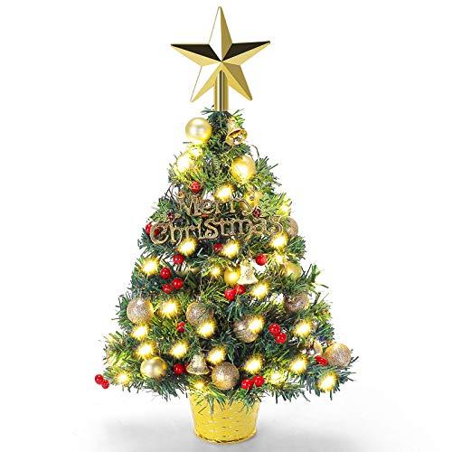 MA3TY Mini Albero di Natale 55cm Albero di Natale da Tavolo con Luci LED Piccolo Alberelli di Natale Decorazioni per la casa di