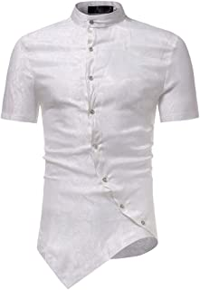 bcf55ed9b67 Men Shirt Slim Fit Short Sleeve Irraguler Printed Blouse Tee T-Shirt Casual  Top