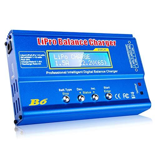 FCONEGY iMAX B6 Balance Ladegerät 80W 6A LCD-Balance-Ladegerät für LiPo / Li-Ion / Life Akku (1-6S), NiMH / NiCd (1-15S), RC Hobby Akku Ladegerät LED W / AC Power Adapter