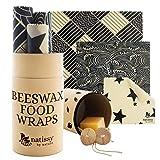 Emballage Cire d'Abeille Réutilisable; Lot de 6 Bee Wraps; Film Alimentaire Cire Abeille; Emballage Alimentaire pour Cuisine Zéro Déchet; Couvre Plat Tissu Lavable, Wrap Cire d'Abeille Ecologique
