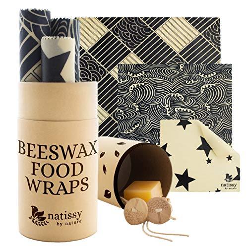 Bienenwachstücher aus Bio Baumwolle, 6er-Pack Wachspapier für Lebensmittel, Zero Waste Wachstücher Set, Plastikfreie Alternative zu Alu & Frischhaltefolie für Käse, Obst, Gemüse und Brot, Beeswax Warp