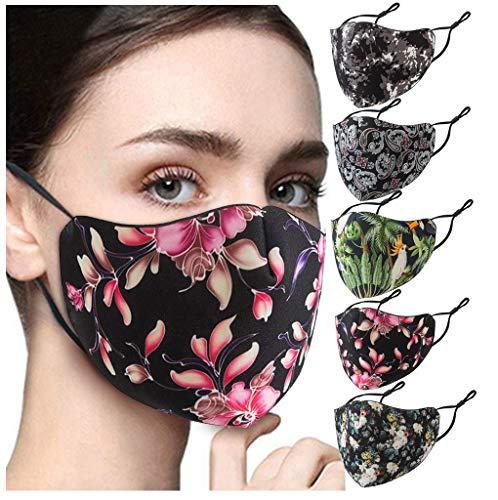 5 Stück Blumenmaske Stoffmaske Elegant Gesichtsmaske Cosplay Maske Atmungsaktive Baumwolle Waschbar Bandana Halstuch (A, 5PC)