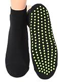 Rutschfeste Sneaker Kurzschaftsocke mit Plüschsohle und Noppen - UNISEX ABS Socken, Farben alle:schwarz, Größe:39/42 Einzelpaar