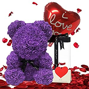 Silk Flower Arrangements DUOSME Rose Bear Hand Made Teddy Bear Flower Bear Rose Teddy Bear - Gift for Mothers Day, Valentines Day, Anniversary & Bridal Showers Weddings Clear Gift Box 10 inch