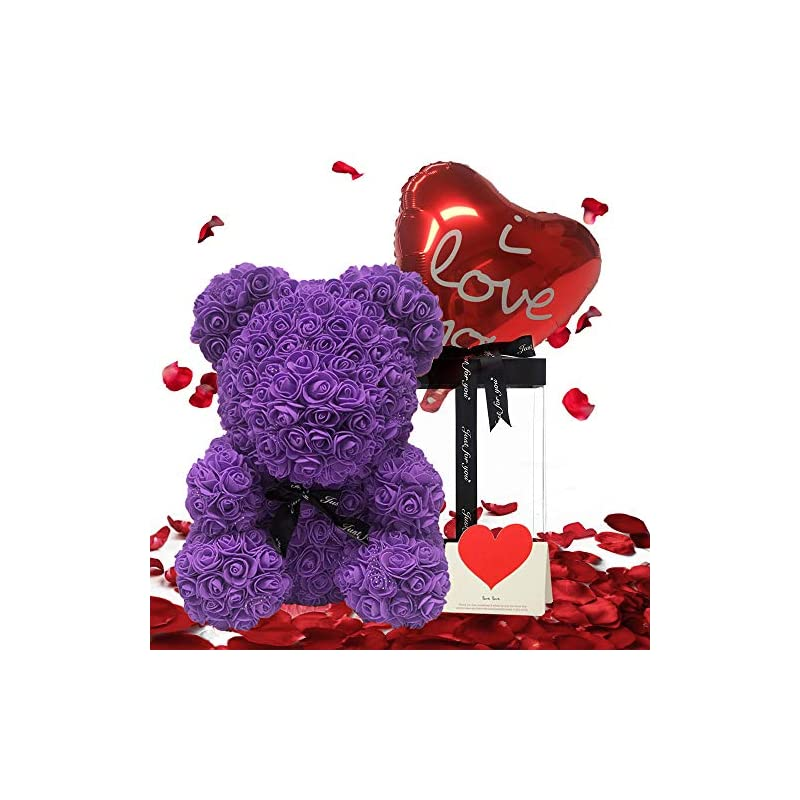 silk flower arrangements rose gift bear with lace edge hand made teddy bear flower bear rose teddy bear with necklace,strings light and gift greeting card- gift for mothers day, valentines day, anniversary 16 inch (purple)