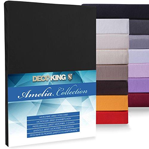 DecoKing Spannbettlaken Microfaser 100x200-120x200 Jersey Spannbetttuch Boxspringbett Polyester Amelia schwarz