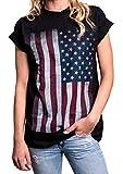 MAKAYA Top Talla Grande Bandera Estados Unidos - USA Flag - Camiseta para Mujer Estilo Oversize Negro M