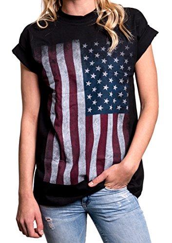 Damen T-Shirt mit USA Flagge - Oversize Longshirt große Größen schwarz XXXL