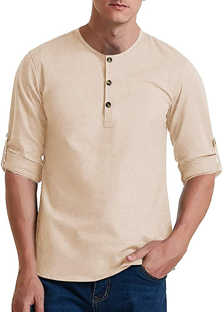 Mens Stylish Roll Up Sleeve Crew Neck Henley Shirts Casual Vintage Button-Down Tops