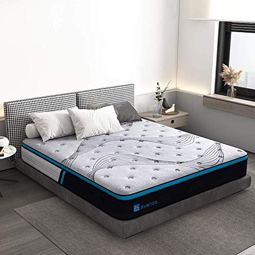 Queen Mattress, Avenco Cold Foam and Innerspring Mattress Queen, 10 Inch Grey Hybrid Mattress in a Box, Excellent Support with Dual Perimeter Edge Support System