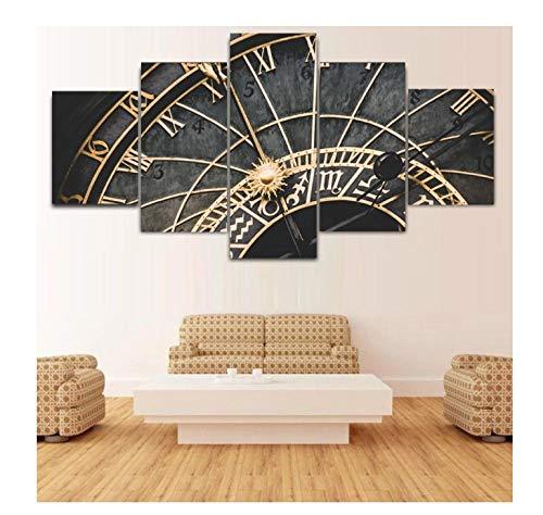 pósterCuadros en lienzo 5 piezasLienzo de decoración del hogar, carteles impresos en HD, 5 paneles, reloj Retro, pintura, arte de pared, imagen modular para sala de estar12x16inx2,12x24inx2,12x32inx1