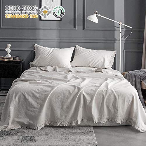 King Linens Simple&Opulence Belgian Linen Sheet Set 4PCS Solid Color Ruffles Flouncing