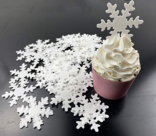 48pcs Edible Snowflakes White Cupcake Cake Toppers Decoration with Plastic Box Package for Chirstmas Winter Frozen Theme Party