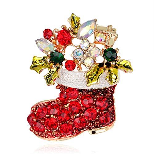 Cuigu Weihnachts-Brosche mit Ring und Glöckchen, Strass-Schmuck, modisches Weihnachtsgeschenk, Dekoration – Weihnachtsstiefel Nr. AL050-A
