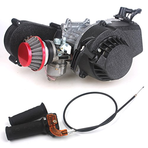 49cc 2-Stroke Pocket Mini Dirt Bike ATV Engine + Handle Bar + Throttle Cable + Racing Air Filter with Gear Box 14T T8F Sprocket New Metal Recoil Easy to Start