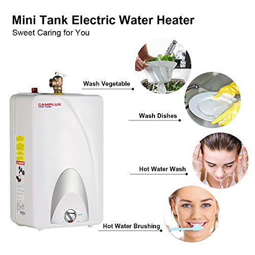 Camplux ME40 Mini Tank Electric Water Heater 4-Gallon with Cord Plug,120 Volts