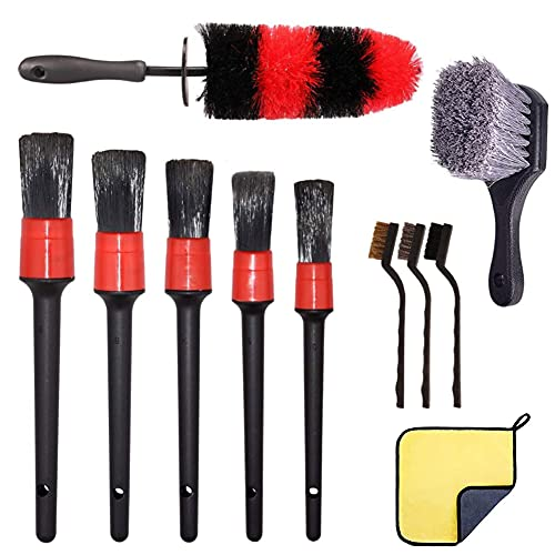 LOVECENTRAL 11Pcs Kit de Belleza para Coche, Cepillos Limpieza Coche, Cepillos para Vehículos, Cepillos para Llantas, para Lavar Ruedas, Motor, Interior y Exterior de Auto, Ventilación de Aire.