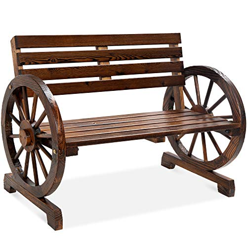 Best Choice Products 2-Person Wooden Wagon Wheel Bench for Backyard, Patio, Porch, Garden, Outdoor...
