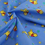 1/2 Metre | Blue Disney Winnie The Pooh Printed Polycotton Fabric **Free UK Post** Japanese Qkt 4000 Polycotton Poplin Material Dressmaking Cartoon Printed Fabric 115cm width