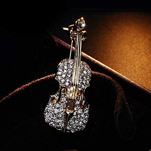 Men's and Women's Brooches All-Match Violin Crystal Brooch Suit Collar Pin Male Universal