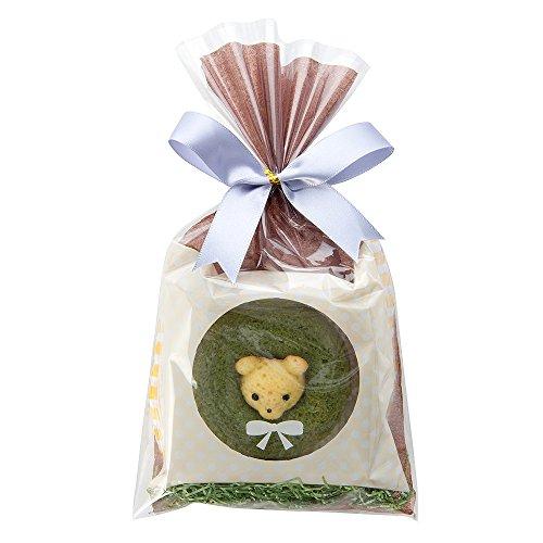 ( プチギフト / カリーノ ) アニマルドーナツ ラッピング くま抹茶 ※5個以上〜