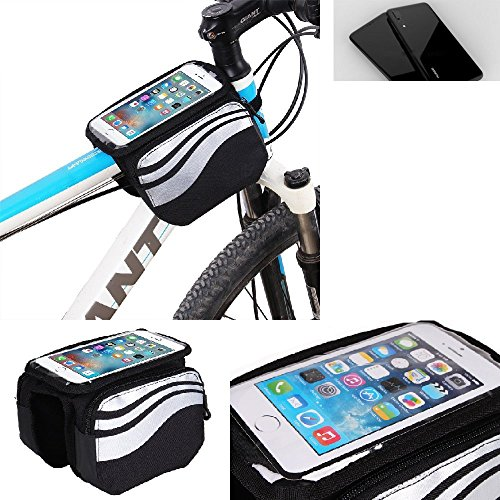 K-S-Trade Rahmentasche Für Huawei P20 Rahmenhalterung Fahrradhalterung Fahrrad Handyhalterung Fahrradtasche Handy Smartphone Halterung Bike Mount Wasserabweisend, Silber-schwarz