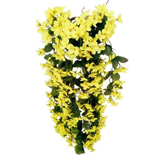 VORCOOL 4petals Künstlich hängende Blumen, Blauregen Hängende Kunstblumen für Hochzeit Haus Dekoration (Gelb)