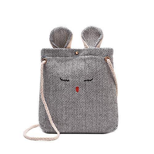 Women's Crossbody Shoulder Bag 2019 New Burlap Cat Ears Small Square Bags Black
