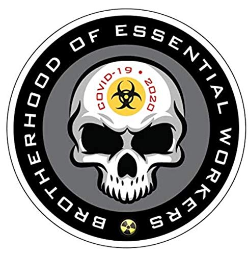 Brotherhood Of Essential Workers Decal 10 Pack Hard Hat Decal 2' Covid 19 Coronavirus sticker Circle Skull Motorcycle Welding Helmet Fits Angles Easily