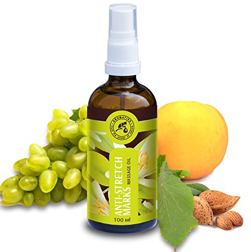 Massageöl 100ml - Stretch Mark Massage Öl mit Jojobaöl - Mandelöl & Mandarinenöl - Naturkosmetik Gegen Schwangerschaftsstreifen - Schwangerschaftspflegeöl - Hautöl - Schwangershafts - Pflegeöl