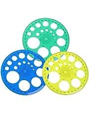 luosh 360 Grados Regla transportador Todo círculo Plantilla de Regla Redonda para Material de Oficina Escolar