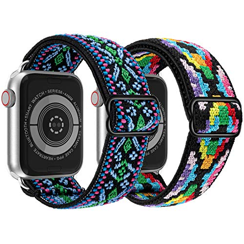 Adjustable Elastic Solo Loop Bands Compatible With Apple Watch 38mm 40mm Stretchy Sport Soft Strap Women Men Replacement Wristband for iWatch Series 6 SE 5 4 3 2 1 Aztec Style Boho Green&Boho Colorful