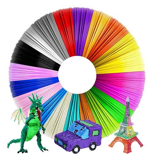 Filamento PLA 3D de 1,75 mm de PLA con 20 colores, cada color 5 m en total 100 m, filamento inodoro para la mayoría de bolígrafos 3D y impresoras 3D de alta temperatura