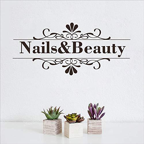 Nagel Salon Wandaufkleber Nail Shop Hand Spa Kunst Design Maniküre Salon Wandtattoo Vinyl Langlebig Leicht entfernbar Art Deco Wandaufkleber A3 56x25 cm