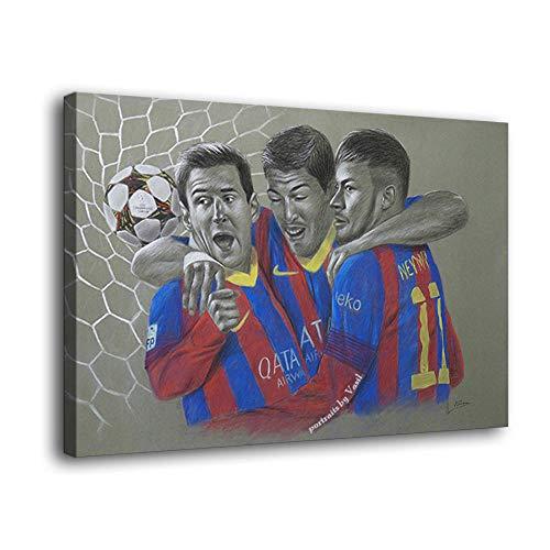 Póster de Lionel Messi Suárez y Neymar de Barcelona MSN: Póster de arte y arte de la pared con impresión moderna de la decoración del dormitorio familiar