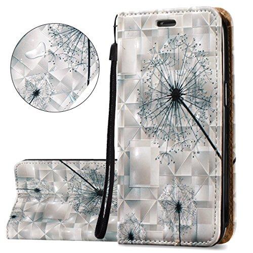 ISAKEN Compatibile con Samsung Galaxy Core Prime G360 Custodia -Libro PU Pelle Portafoglio Custodia Embossed Pattern Wallet Flip Case Portafoglio Cover con Supporto di Stand/Carte Slot - Dandelion