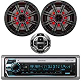 Kenwood Single DIN Marine USB AUX CD Bluetooth Stereo Receiver with Wired Remote, 2X Kicker 6.5' OEM Replacement 195W Coaxial 2-Way Speakers (Charcoal Grilles) with Multicolor LEDs