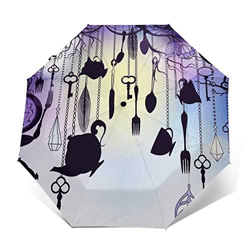 Paraguas Plegable Automático Impermeable Té, Tazas, Relojes, anochecer, Paraguas De Viaje Compacto a Prueba De Viento, Folding Umbrella, Dosel Reforzado, Mango Ergonómico