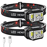 Headlamp Rechargeable, JNDFOFC 1200 Lumen Super Bright Motion Sensor LED Head Lamp flashlight, 2 PACK Waterproof Headlight with White Red Light,14 Modes Head Lights for Outdoor Camping Fishing Running