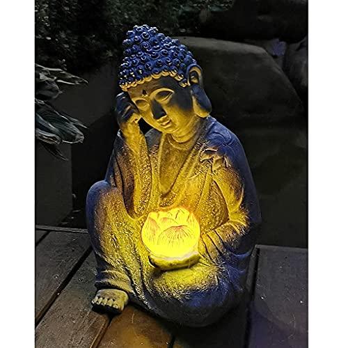 JYKFJ Adornos de Estatua de Buda Sentado LED, Escultura de Buda Retro, decoración de Paisaje Zen para jardín, Patio, balcón