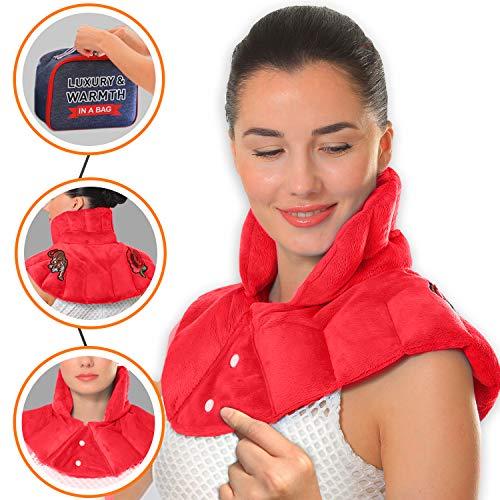 Pykal Luxuriöses Nacken Wärmekissen Mikrowelle für Hals & Schulter mit Gratis Aufbewahrungstasche | Feuchte Wärmetherapie mit Aromatherapie bei Hals- Und Muskelschmerzen, Migräne oder Stressabbau