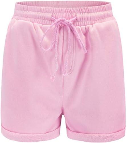 LMSHMDK Short Femme Rose Fashion Hem Casual Shorts Femmes Simple Lache Taille Haute Shorts Femme étirement été Hotpants Vacances Vêtements