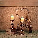GoMaihe Retro Kerzenhalter 2 Set in Unterschiedlicher Größe, 22/15.5cm Antik Kerzenständer Eisen Deko Kerzenleuchter für Stumpenkerzen, Kerzen Ständer Tischdeko Hochzeit Weihnachten Geburtstag.MEHRWEG - 3