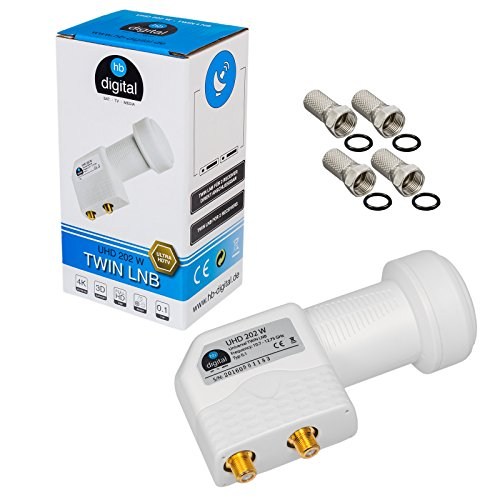 HB-DIGITAL Twin LNB LNC 2 usuarios Directo ✨ TV Full HD 3D 4K UHD Blanco ■ Contactos dorados ■ Protección contra el clima (extensible) ■ incl. enchufe F