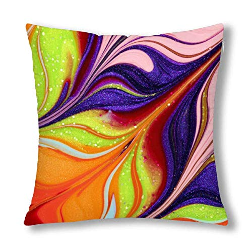 Abstract 3D Rendering Combo Artwork with Fractal Buttons on Leather Cushion Case Pillow Cover with Zippered Throw Pillowcase for Bedroom Sofa Decor