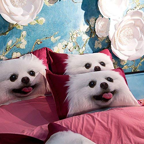 RuiHome 4pcs Soft Polyester Duvet Cover Set with Zipper Closure Bedding Collection Home Kids Dorm Room Essentials - Queen Size, Lovely Dog Pattern