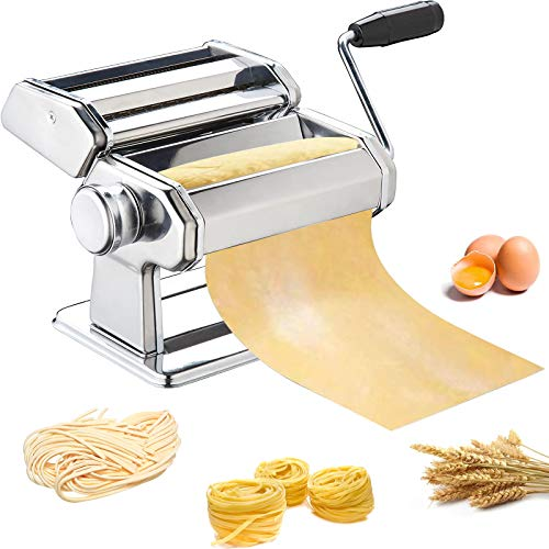 Pasta Maker METLUCK Stainless Steel Pasta Machine Manual Roller Pasta Maker with 8 Thickness Settings for Spaghetti Linguine Fettuccine Lasagne Includes Dough Cutter amp Hand Crank