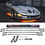 LEDGlow 4pc Orange Slimline LED Underbody Underglow Accent Neon Lighting Kit for Cars - Solid Color Illumination - Water Resistant, Low Profile Tubes - Included Power Switch Turns Lights On & Off