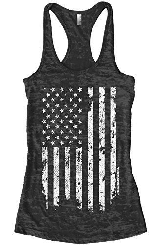 Threadrock Women s White Distressed American Flag Burnout Racerback Tank Top S Black